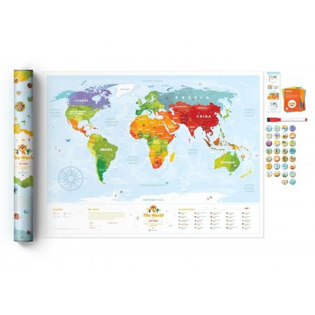 INTERAKTYWNA MAPA ŚWIATA TRAVEL MAP KIDS SIGHTS 3+