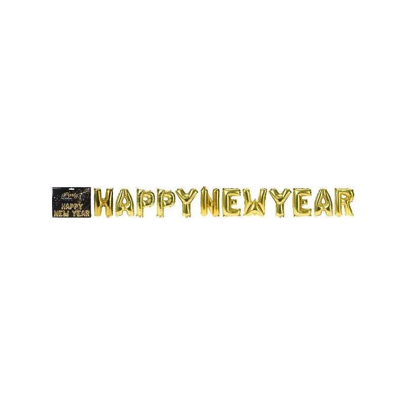 BALONY ZŁOTE FOLIA 'HAPPY NEW YEAR'5M