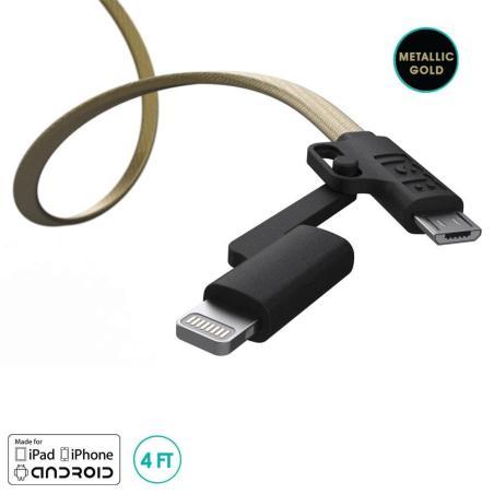 KABEL USB/MICROUSB/LIGHTNING 2 W 1 1.2M - ZŁOTY