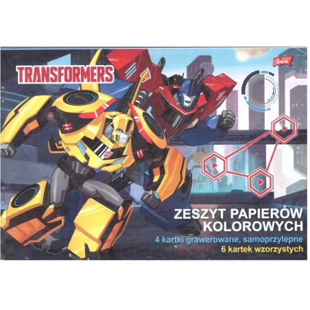 ZESZYT PAPIERÓW KOLOROWYCH A4 17 KARTEK TRANSFORMERS