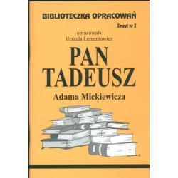 BIBLIOTECZKA OPRACOWAŃ PAN TADEUSZ ADAMA MICKIEWICZA Urszula  Lementowicz