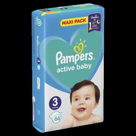 PIELUSZKI PAMPERS ACTIVE BABY ROZMIAR 3 6-10 KG 66 SZT.