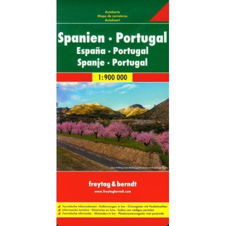 SPANIEN PORTUGAL MAPA SAMOCHODOWA 1:900 000
