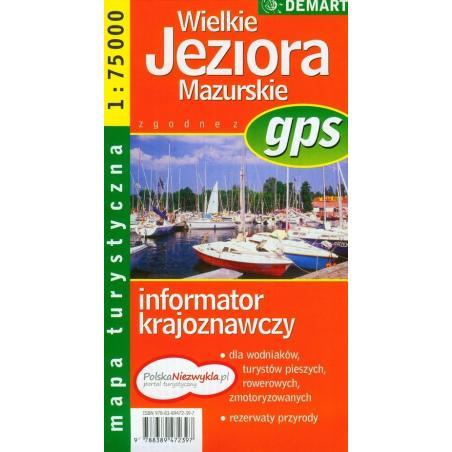WIELKIE JEZIORA MAZURSKIE MAPA TURYSTYCZNA 1:75 000 TOUR GPS