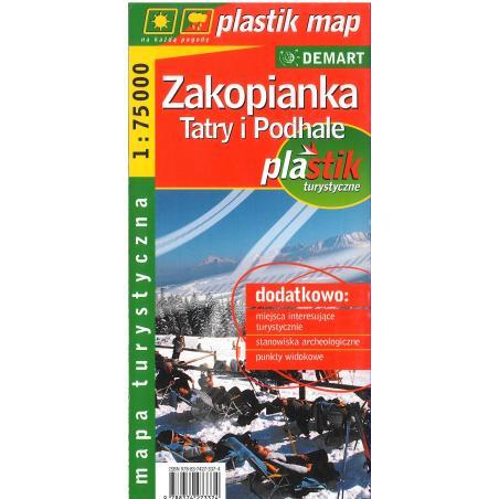 ZAKOPIANKA TATRY I PODHALE LAMINOWANA MAPA TURYSTYCZNA 1:75 000 PLASTIK MAP