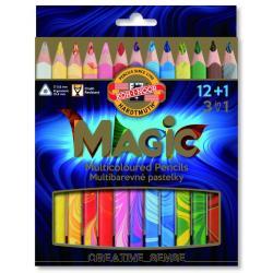 MAGICZNE KREDKI TRÓJKĄTNE 12 KOLORÓW MAGIC TRIO 12+1 KOH-I-NOOR