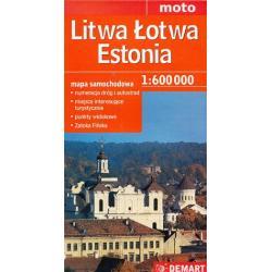 LITWA ŁOTWA ESTONIA MAPA SAMOCHODOWA 1:600 000