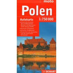 POLEN POLSKA MAPA SAMOCHODOWA 1:750 000 WERSJA NIEMIECKA MOTO