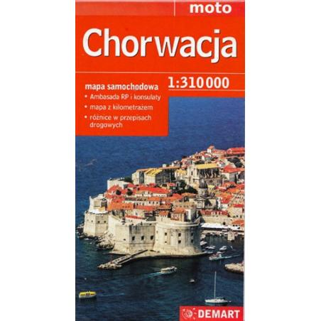 CHORWACJA MAPA SAMOCHODOWA 1:310 000 MOTO