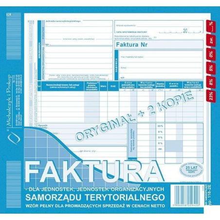 FAKTURA VAT 2/3 A4 NETTO DLA JEDNOSTEK SAMORZĄDU TERYTORIALNEGO TYP: 118-2E