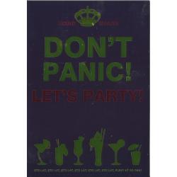 KARNET ZŁOTY URODZINOWY DON'T PANIC! LET'S PARTY! + KOPERTA